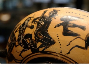 ancient Greek vase showing Prometheus having his liver pecked out by eagle wikimedia common user Bibi Saint-pol